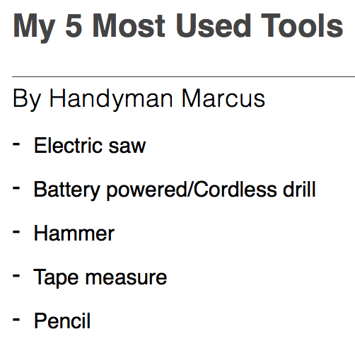 Marcus' list of 5 handyman tools for woodworking