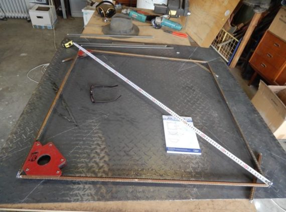 measure and weld the base of the frame first