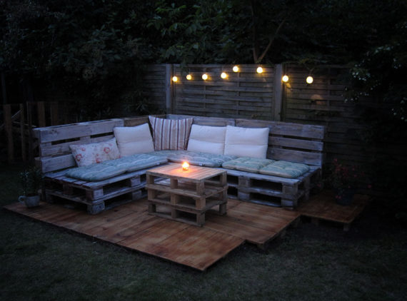 finished product at night pallet outdoor lounge