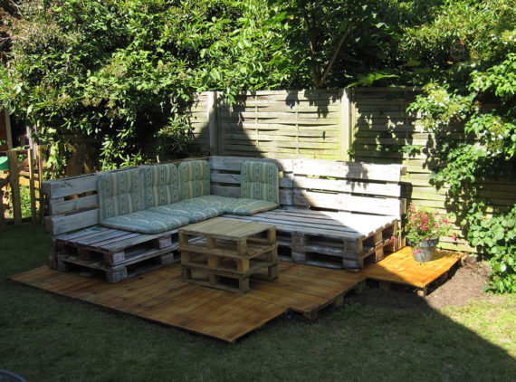 stain the wood to make it last and make it look that much better pallet outdoor lounge