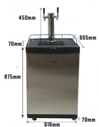 3 TAP KEGERATOR WITH 3 19LITRE KEGS JUST ADD BEER